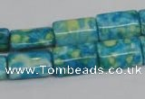 CRF138 15.5 inches 10*15mm flat tube dyed rain flower stone beads
