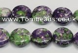 CRF16 15.5 inches 16mm flat round dyed rain flower stone beads