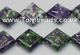 CRF19 15.5 inches 15*15mm diamond dyed rain flower stone beads