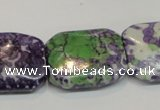 CRF20 15.5 inches 20*26mm rectangle dyed rain flower stone beads