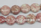 CRF257 15.5 inches 14mm flat round dyed rain flower stone beads