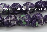 CRF365 15.5 inches 11*12mm skull dyed rain flower stone beads