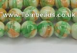 CRF419 15.5 inches 10mm round dyed rain flower stone beads wholesale