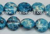 CRF69 15.5 inches 16mm flat round dyed rain flower stone beads