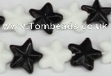 CRG23 15.5 inches 16*16mm star black & white agate gemstone beads