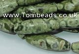CRH106 15.5 inches 10*30mm rice rhyolite beads wholesale