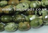 CRH68 15.5 inches 10*15mm faceted rice rhyolite beads wholesale