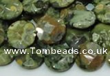 CRH85 15.5 inches 14mm faceted flat round rhyolite beads wholesale