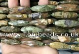 CRI115 15.5 inches 10*30mm faceted rice rhyolite gemstone beads