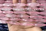 CRI117 15.5 inches 10*30mm faceted rice rose quartz beads