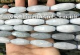 CRI119 15.5 inches 10*30mm faceted rice aquamarine beads