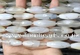CRI124 15.5 inches 10*30mm faceted rice agate gemstone beads