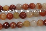 CRJ252 15.5 inches 8mm faceted round red jade gemstone beads