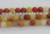 CRJ412 15.5 inches 6mm round red & yellow jade beads wholesale