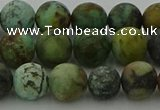 CRO1053 15.5 inches 10mm round matte African turquoise beads