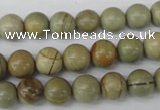 CRO106 15.5 inches 8mm round silver leaf jasper beads wholesale