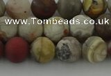 CRO1092 15.5 inches 8mm round matte laguna lace agate beads