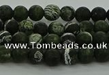 CRO1120 15.5 inches 4mm round matte green silver line jasper beads