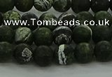 CRO1121 15.5 inches 6mm round matte green silver line jasper beads