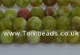 CRO1151 15.5 inches 6mm round matte green dragon serpentine jasper beads