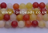 CRO1160 15.5 inches 4mm round golden silk jade beads wholesale