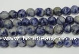 CRO771 15.5 inches 6mm faceted round blue spot stone beads wholesale