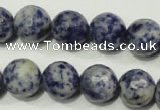 CRO775 15.5 inches 14mm faceted round blue spot stone beads wholesale