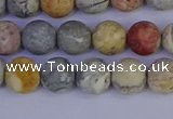 CRO992 15.5 inches 8mm round matte sky eye stone beads wholesale