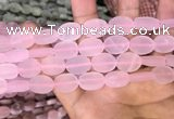 CRQ421 15.5 inches 12*16mm oval matte rose quartz beads wholesale