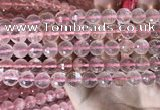 CRQ446 15.5 inches 10mm faceted round rose quartz beads
