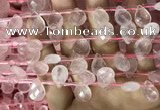 CRQ560 Top drilled 10*14mm faceted briolette rose quartz beads
