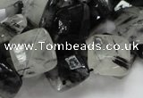 CRU08 15.5 inches 15*15mm faceted diamond black rutilated quartz beads