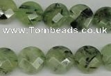 CRU183 15.5 inches 14mm faceted coin green rutilated quartz beads