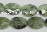 CRU190 15.5 inches 15*20mm faceted oval green rutilated quartz beads