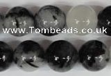 CRU307 15.5 inches 16mm round black rutilated quartz beads
