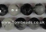 CRU316 15.5 inches 14mm faceted round black rutilated quartz beads