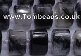 CRU348 11*15*15mm faceted triangle black rutilated quartz beads