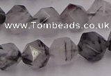 CRU514 15.5 inches 12mm faceted nuggets black rutilated quartz beads