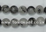 CRU52 15.5 inches 8mm round black rutilated quartz beads wholesale