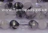 CRU521 15.5 inches 6mm faceted round black rutilated quartz beads