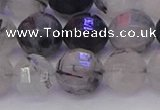 CRU523 15.5 inches 10mm faceted round black rutilated quartz beads
