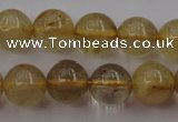 CRU612 15.5 inches 8mm round golden rutilated quartz beads