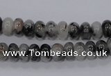 CRU63 15.5 inches 5*8mm rondelle black rutilated quartz beads