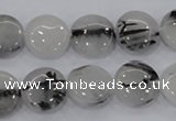 CRU80 15.5 inches 14mm flat round black rutilated quartz beads