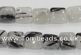 CRU84 15.5 inches 10*10mm square black rutilated quartz beads