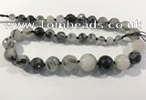CRU938 8mm - 18mm faceted round black rutilated quartz graduated beads