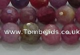 CRZ1124 15.5 inches 8mm faceted round natural ruby gemstone beads