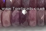 CRZ1155 15.5 inches 5*12mm faceted rondelle natural ruby beads