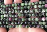CRZ781 15.5 inches 6mm faceted round ruby zoisite beads wholesale