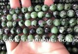 CRZ782 15.5 inches 8mm faceted round ruby zoisite beads wholesale